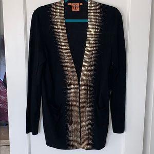 Tory Burch Sparkle Gold & Black Merino Cardigan